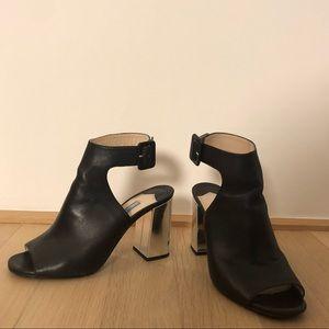 Prada Black Leather Mirror Heels